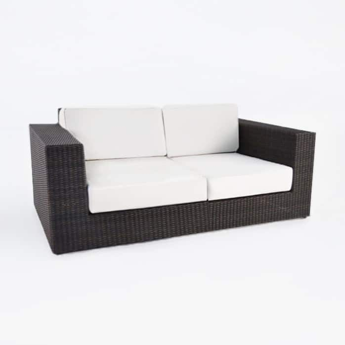 outdoor wicker Austin java loveseat angle
