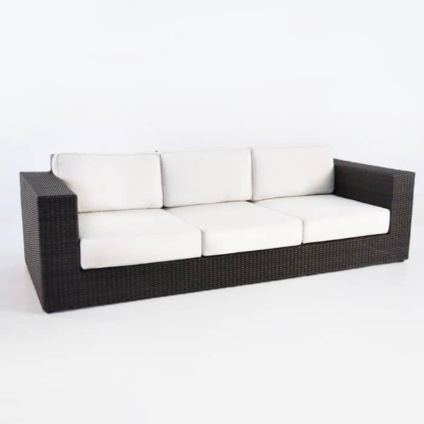 outdoor wicker Austin java sofa angle