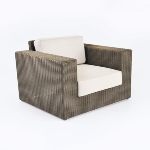 large outdoor wicker chair with cushion