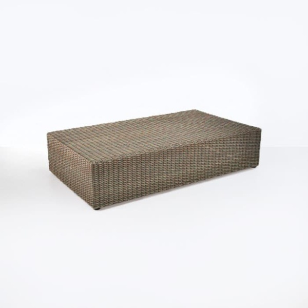 outdoor wicker coffee table angle