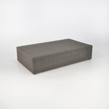 brown outdoor wicker coffee table rectangle front angle view
