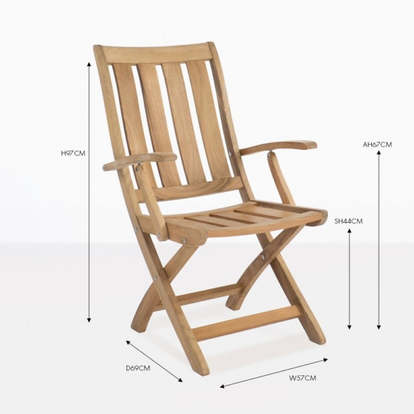 bella arm teak folding chair