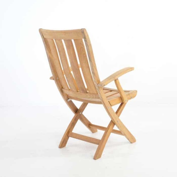 wide planks of the bella teak folding arm chair