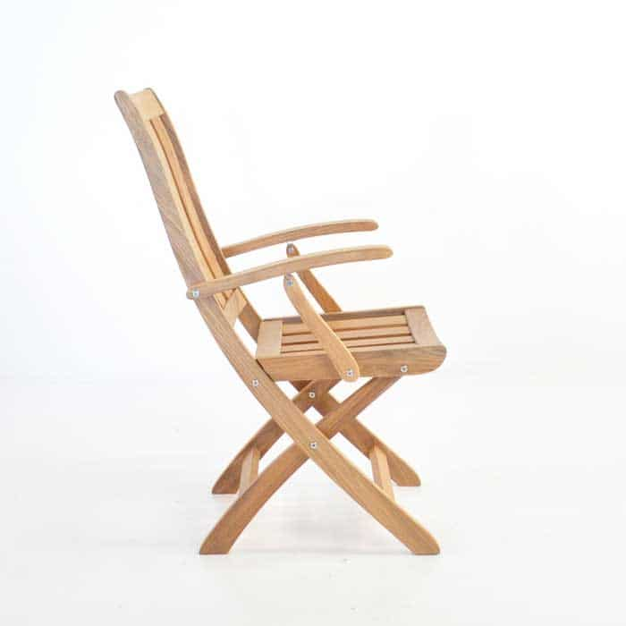 bella teak folding arm chair side view