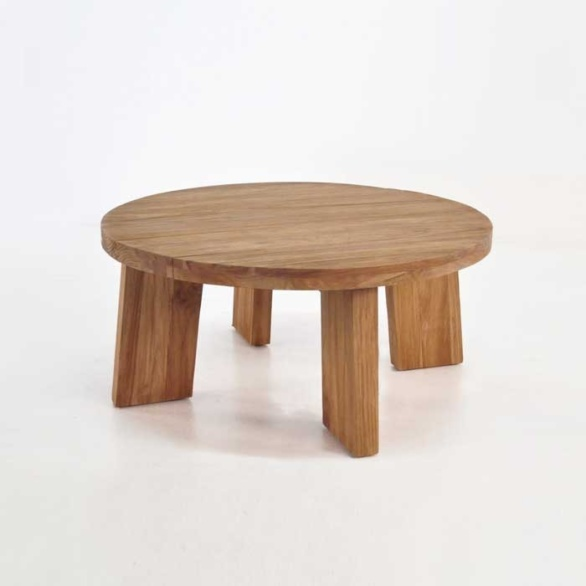 Round Teak Coffee Table: Blok Round Reclaimed Teak Coffee Table