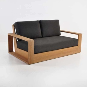 cabana teak loveseat front angle view