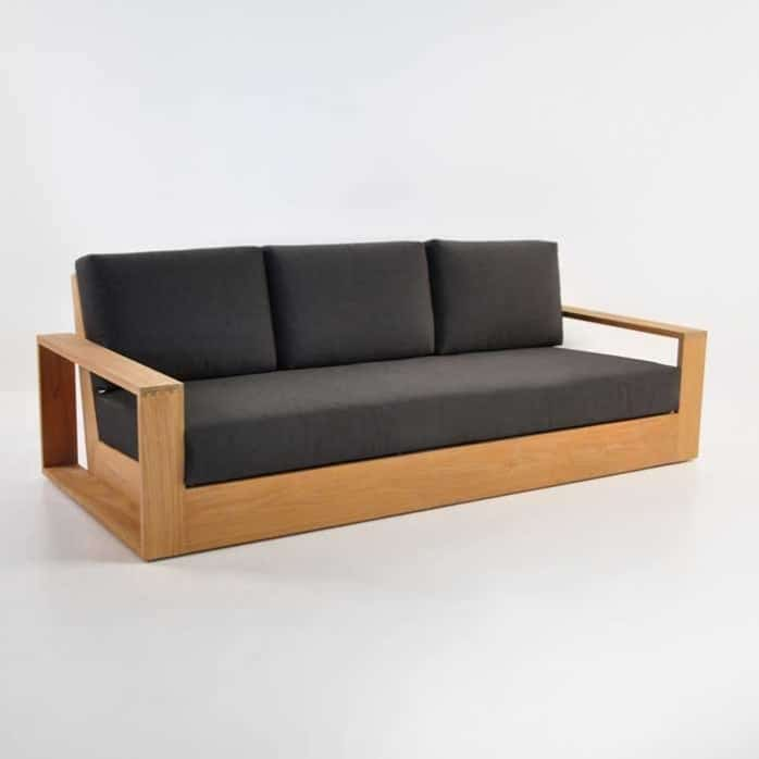 Cabana Teak Sofa With Arms Front Angle View