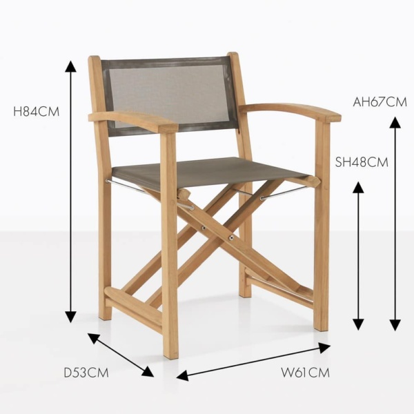 cannes teak and mesh taupe folding directors chair