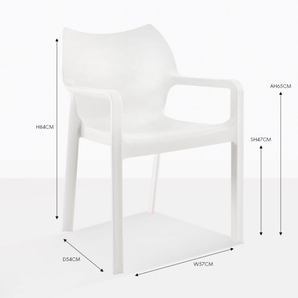 cape white outdoor dining chair