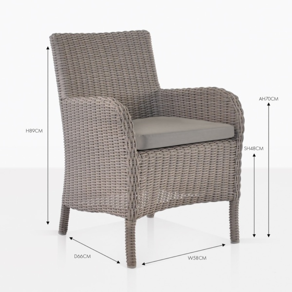 cape cod wicker dining arm chair