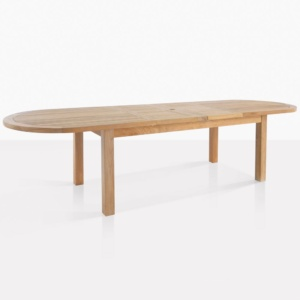 capri oval teak double extension outdoor dining table extended