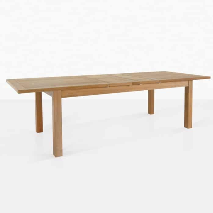 capri rectangle double extended outdoor table angle
