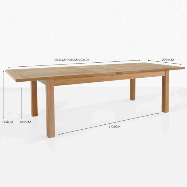 capri rectangle teak double extension dining table