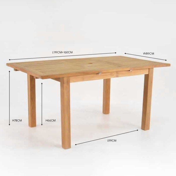 capri rectangle single extension dining table