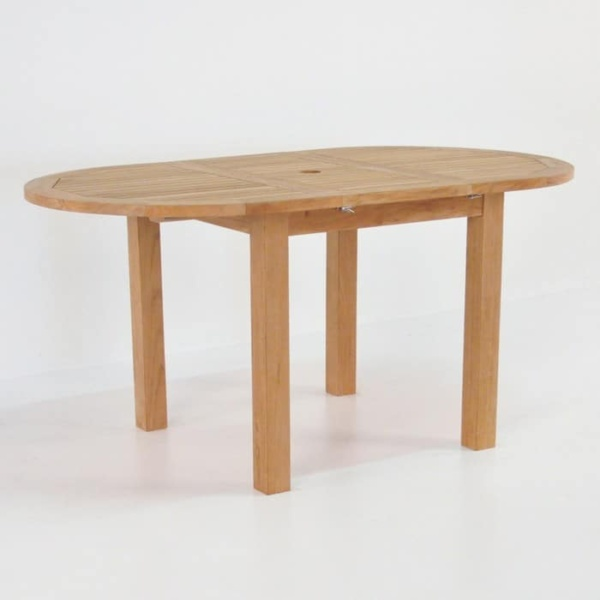 Capri Oval Teak Extension Outdoor Dining Table-1501