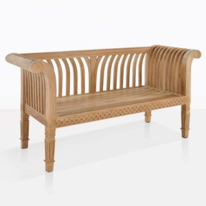 cleopatra teak outdoor bench angle