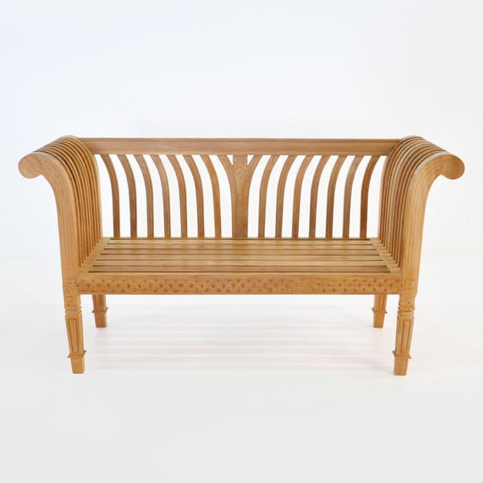Cleopatra Teak Outdoor Bench Angle 1483