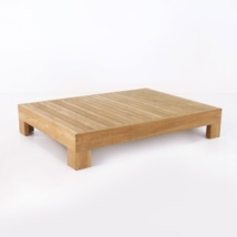 amalfi collection teak coffee table front angle view