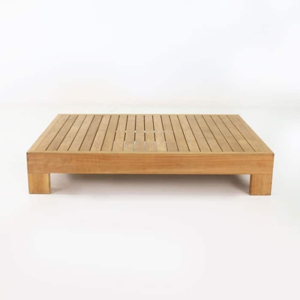 amalfi teak coffee table side view