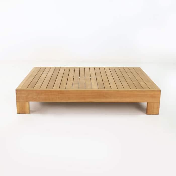 amalfi teak coffee table side view