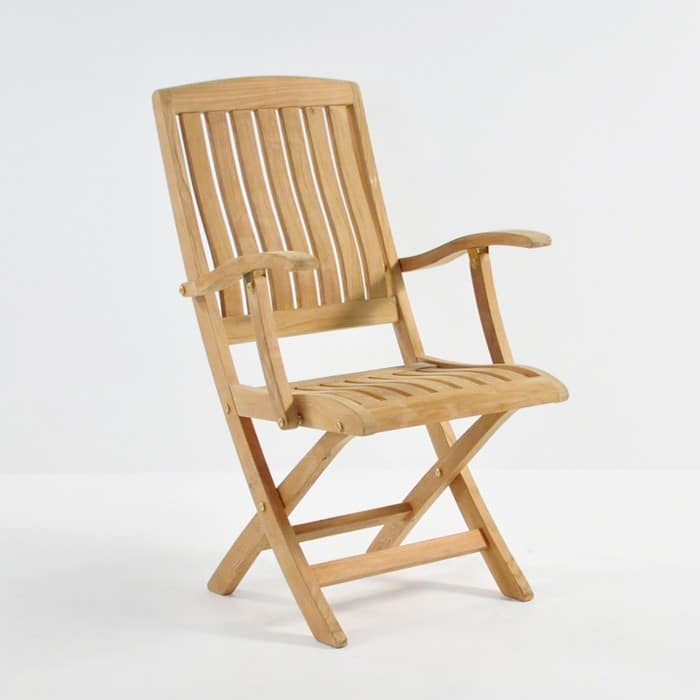 como teak folding arm chair