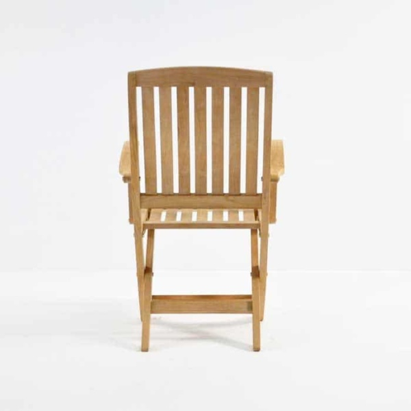como teak folding arm chair front view