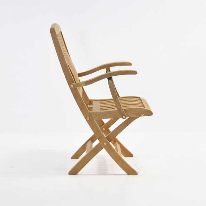 como teak folding arm chair side view