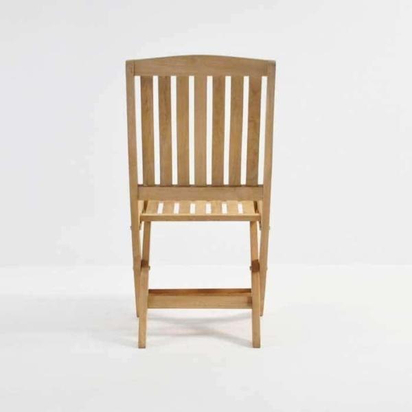 como teak folding side chair rear view