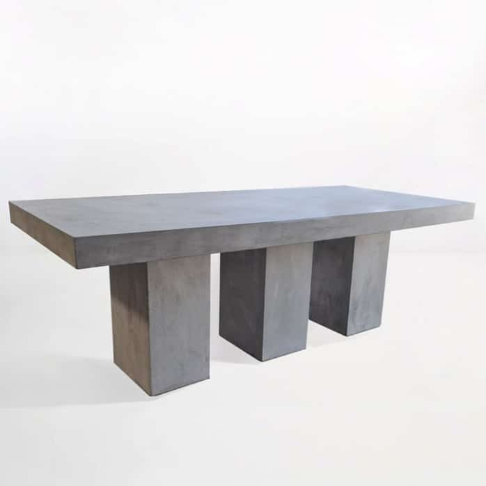 Blok Rectangle 3 Pedestal Concrete Dining Table-0