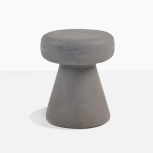 raw concrete side table round outdoor