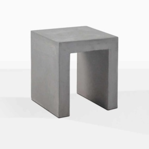 raw concrete side table square