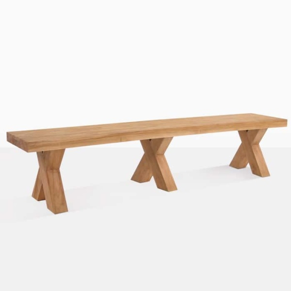 cross reclaimed teak dining bench angle view
