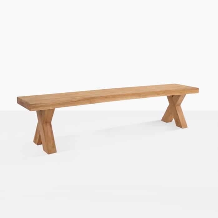 cross reclaimed teak dining bench front view