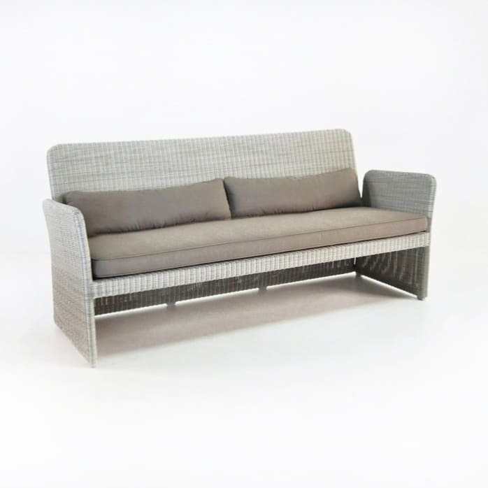 Cube Modern Outdoor Wicker Sofa (Stonewash)-0