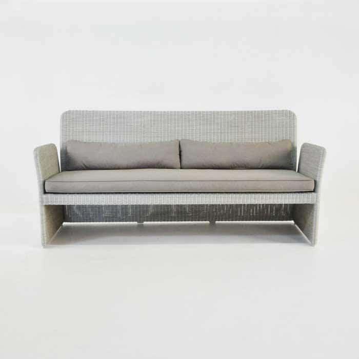 Cube Modern Outdoor Wicker Sofa Stonewash Design