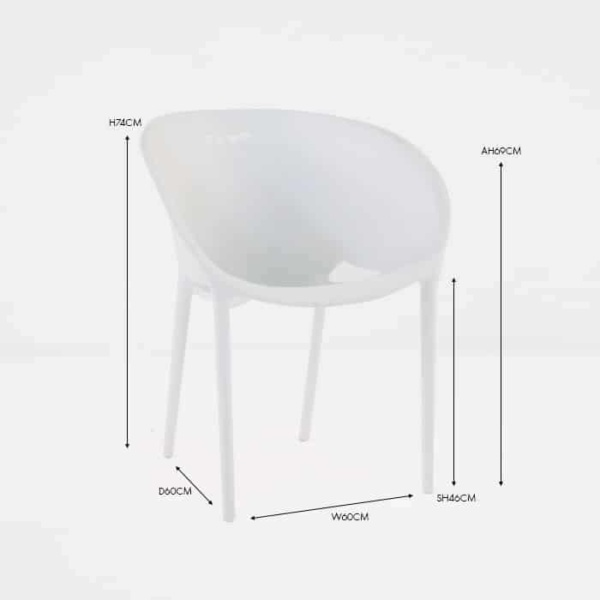 cute white plasteak white outdoor dining chair