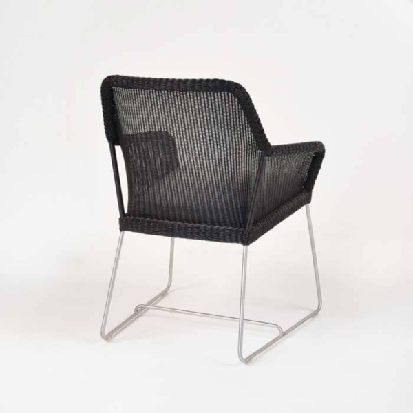 darling wicker dining chair back angle view