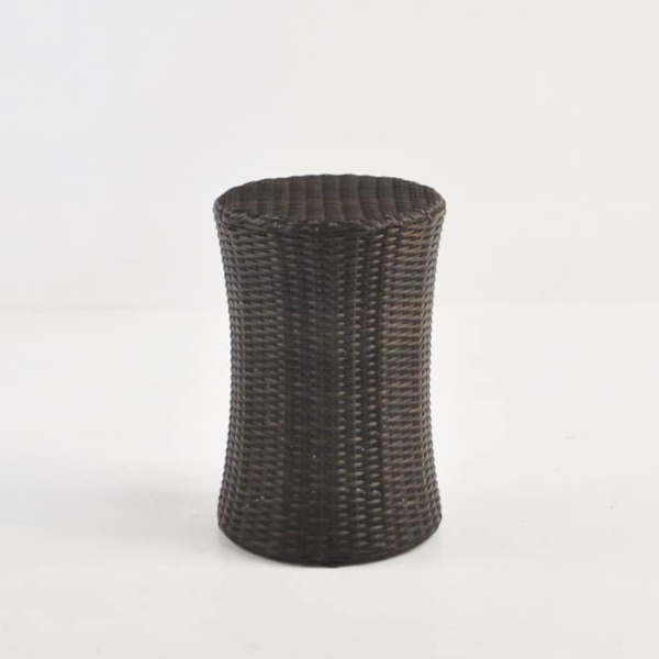 Drum Wicker Side Table (Java) front angle view
