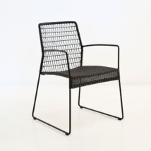 edge wicker arm chair in black