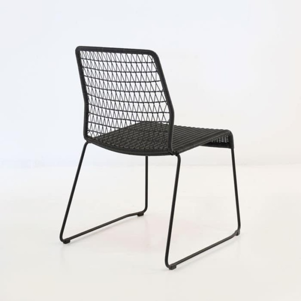 edge wicker side chair in black rear view