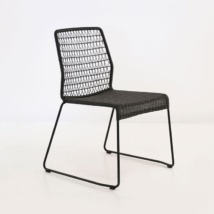 edge wicker side chair in black