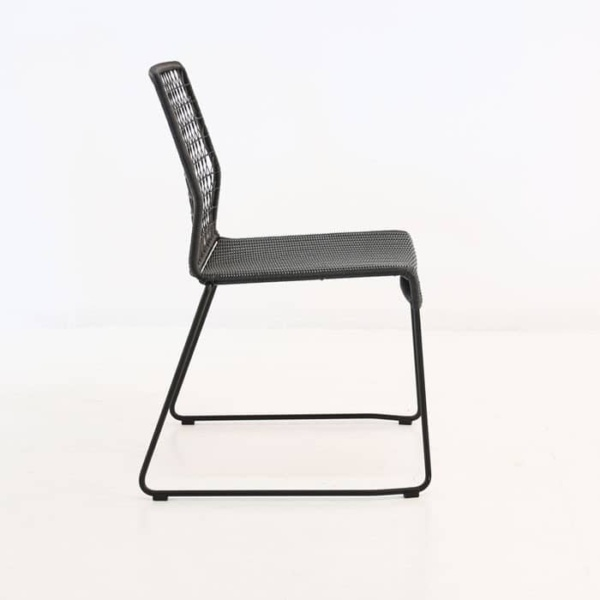edge wicker side chair in black side view