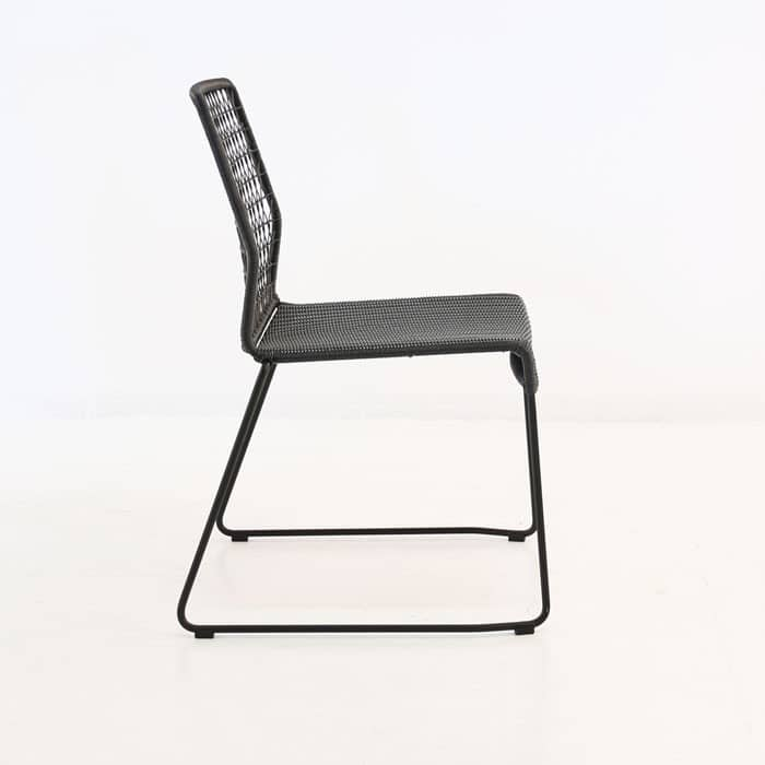 edge wicker side chair in black side view