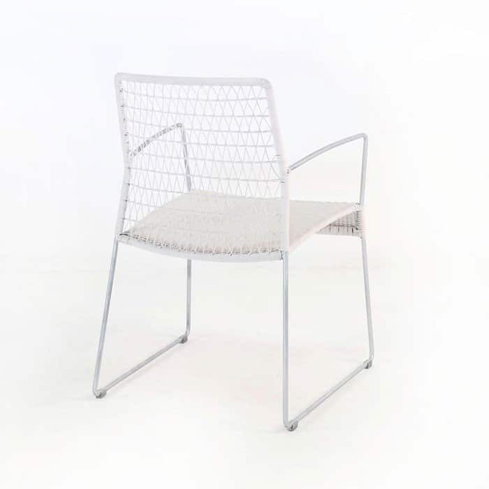 edge wicker arm chair in chalk back angle view