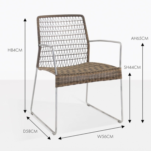 edge wicker dining arm chair sampulut