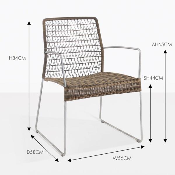 edge wicker dining arm chair sampulut