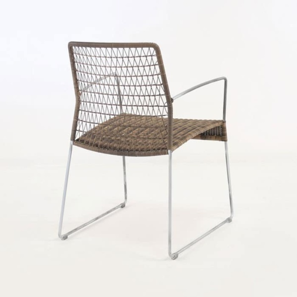 edge wicker arm chair in sampulut back view