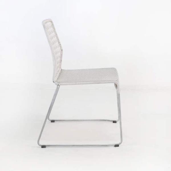 edge wicker side chair in chalk side view