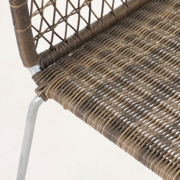 edge wicker side chair in sampulut closeup view