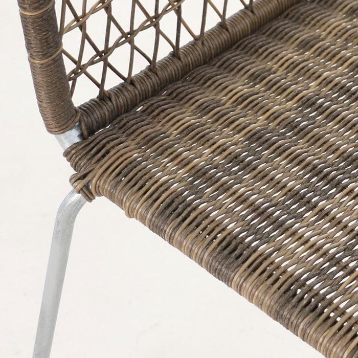 edge wicker side chair in sampulut closeup view
